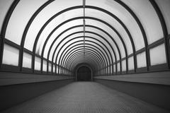 Semicircular long corridor. - stock photo