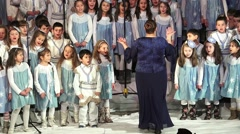 Children Chorus at New Year Performance Stock Footage