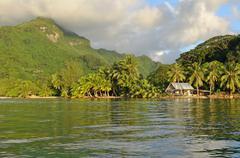 Coastal landscape Huahine French Polynesia - stock photo