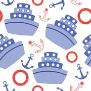 seamless pattern with sheeps and anchors - stock illustration