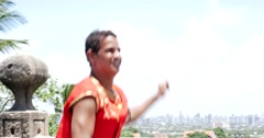 Young Brazilian man dancing Frevo in Olinda, Brazil Stock Footage