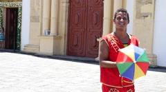 Young Brazilian man dancing Frevo in Slow Motion - Olinda, Brazil Stock Footage