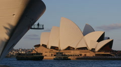 LARGE CRUISE LINER SHADOW LEAVES SYDNEY, PASSING THE OPERA HOUSE TIME LAPSE Stock Footage