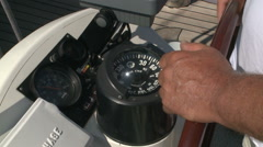 Sailing yacht control cockpit, wheel and implement. - stock footage