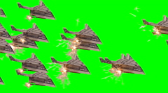 Rocket Bucks Paper Airplane Flock with Green Background Stock Footage