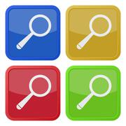 Set of four square icons with magnifier Stock Illustration