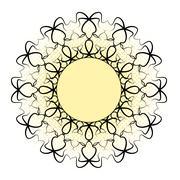 Black ornamental mandala - yellow central circle Stock Illustration