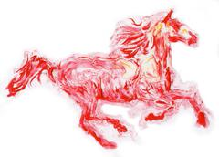 Red horse running ,  hand made painting - stock illustration