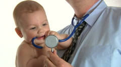 Isolated Little Boy With Medical Doctor Stock Footage