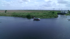 Aerial of Air Boat in the Florida Everglades Stock Footage
