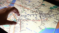 New York city subway map on touch screen computer Stock Footage
