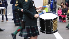 Drummers  marching kilts Vancouver Stock Footage