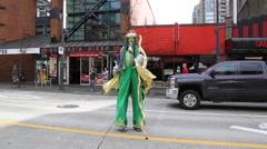 Leprechaun on stilts Patrick's day Stock Footage