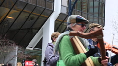 Elderly musicians playing street Vancouver Stock Footage