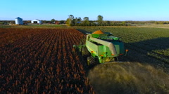 Aerial of Combine Harvester in a Field of Sorghum Stock Footage