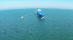 Cargo container trade ship in open sea ocean, AERIAL VIEW Stock Footage
