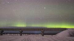 Alaska Aurora Borealis with Highway Detail Stock Footage