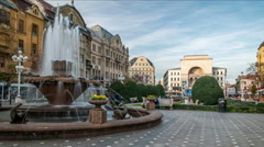 Timisoara. Victory square. Fish fountain and National Opera house. Stock Footage