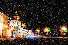 Beautiful night view of Nevsky Prospect and Isaac's Cathedral ne - stock photo
