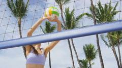 Beach volleyball woman playing volley having fun living active healthy life Stock Footage