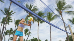 Beach volleyball woman playing forearm pass - people having beach fun Stock Footage