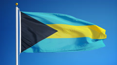 Bahamas flag in slow motion seamlessly looped with alpha Stock Footage