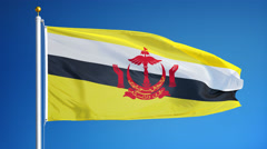 Brunei flag in slow motion seamlessly looped with alpha Stock Footage