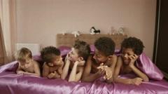 Smiling boys under blanket. Stock Footage