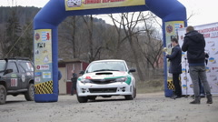 "Ukraine, Carpathians Rally Championship ""Winter peaks"" March Stock Footage"