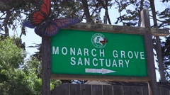 Pacific Grove Monarch Sanctuary, Establishing sign habitat Stock Footage