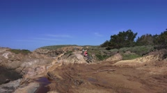 Point Lobos State Park, hikers at trailhead Stock Footage