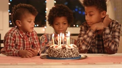 Boy count candles on the cake. Stock Footage