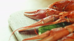 lobsters crayfish on the tray - stock footage