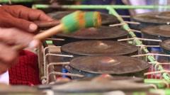 Traditional burmese gamelan music instrument. Bagan. Myanmar . Burma Stock Footage