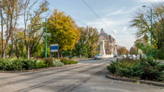 Timisoara. Morning street scene. Cars and trams passing over Decebal Bridge. Stock Footage