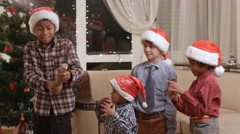 Children scared of Christmas petard. Stock Footage