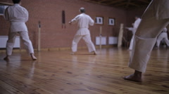 In the gym coach with pupils and spend karate techniques Stock Footage