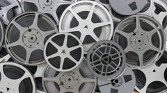Vintage 8 MM Film Reels Motion Control Tracking Shot Stock Footage