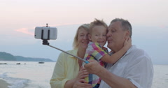 Happy selfie with grandparents Stock Footage