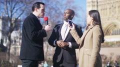 4K Businessman or politician giving live interview to reporters in London - stock footage