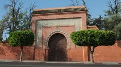 Ornate gateway in Marrakech Morocco Stock Footage