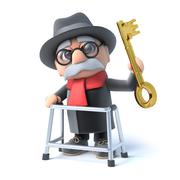 Stock Illustration of 3d render of an old man holding a gold key