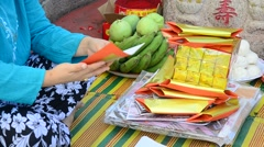 prepare and folding joss paper - stock footage