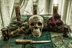 Voodoo Skull Ritual Evil - stock photo