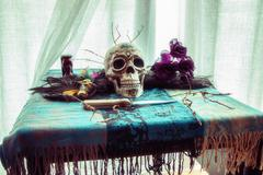 Voodoo Skull Table Ritual Stock Photos