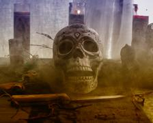 Voodoo Skull Ritual Smoke - stock photo