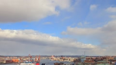Panorama of the port of Gothenburg. Sweden Stock Footage