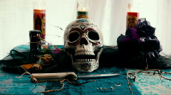 VooDoo Skull Smoke Ritual Table - stock footage
