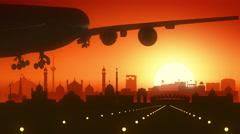 Delhi India Airplane Landing Skyline Golden Background Stock Footage