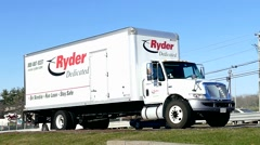 Ryder rental truck, highway traffic Stock Footage